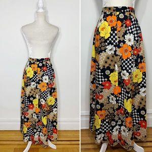 VINTAGE 70s handmade A line maxi skirt